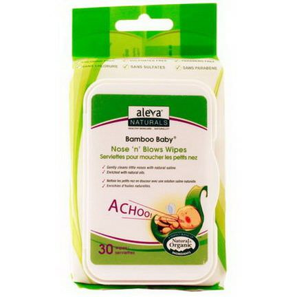 Aleva Naturals, Bamboo Baby, Nose'n'Blows Wipes, 30 Wipes
