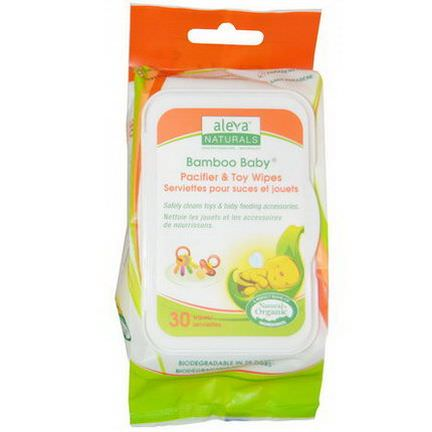 Aleva Naturals, Bamboo Baby, Pacifier&Toy Wipes, 30 Wipes 15 x 20c