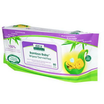 Aleva Naturals, Bamboo Baby Wipes, Scented, 80 Wipes