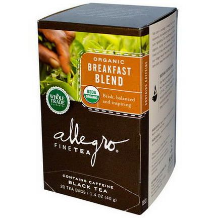 Allegro Fine Tea, Organic, Black Tea, Breakfast Blend, 20 Tea Bags 40g