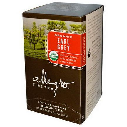 Allegro Fine Tea, Organic, Black Tea, Earl Grey, 20 Tea Bags 40g