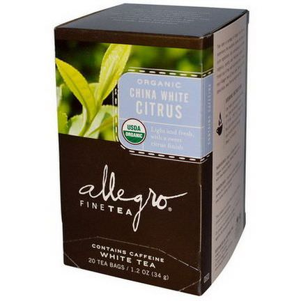 Allegro Fine Tea, Organic China White Citrus, White Tea, 20 Tea Bags 34g