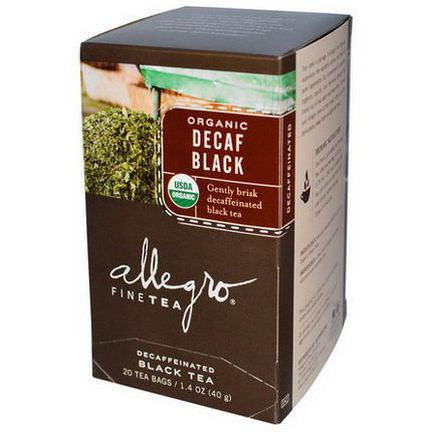 Allegro Fine Tea, Organic, Decaf Black Tea, 20 Tea Bags 40g