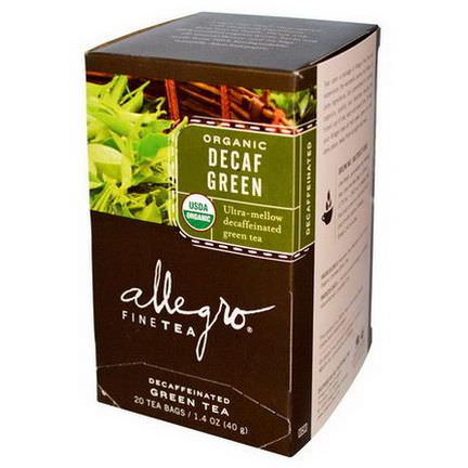 Allegro Fine Tea, Organic, Decaf Green Tea, 20 Tea Bags 40g