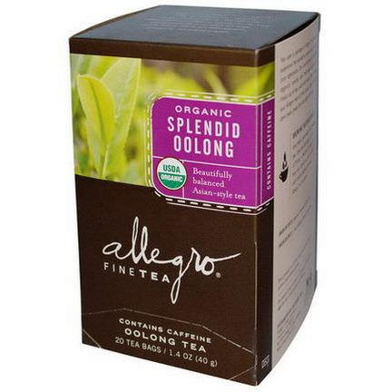 Allegro Fine Tea, Organic Splendid Oolong Tea, 20 Tea Bags 40g