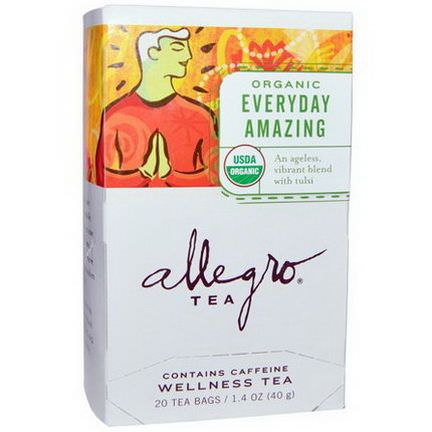 Allegro Fine Tea, Organic Everyday Amazing, Wellness Tea, 20 Tea Bags 40g
