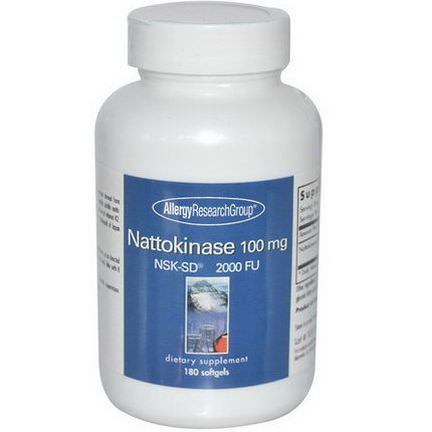 Allergy Research Group, Nattokinase, NSK-SD 2000 FU, 100mg, 180 Softgels