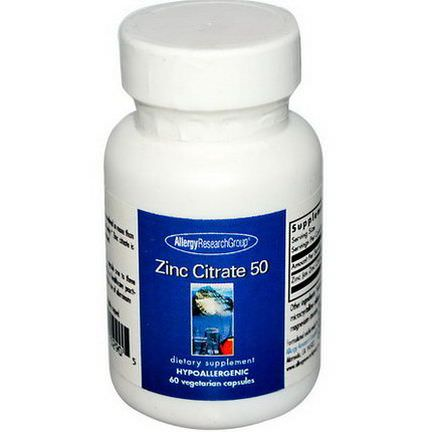 Allergy Research Group, Zinc Citrate 50, 60 Veggie Caps