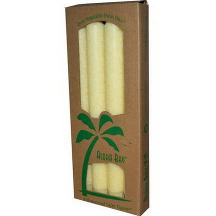 Aloha Bay, Palm Wax Taper Candles, Unscented, Cream, 4 Pack 23 cm Each