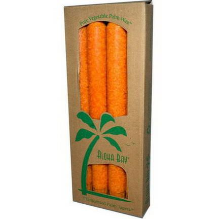 Aloha Bay, Palm Wax Taper Candles, Unscented, Orange, 4 Pack 23 cm Each