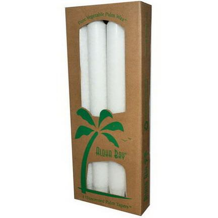 Aloha Bay, Palm Wax Taper Candles, Unscented, White, 4 Pack 23 cm Each