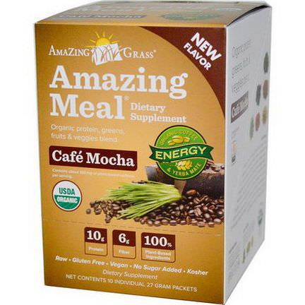 Amazing Grass, Amazing Meal, Cafe Mocha, 10 Packets, 27g Each