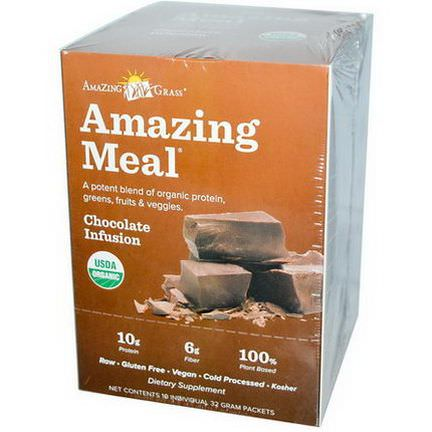 Amazing Grass, Amazing Meal, Chocolate Infusion, 10 Individual Packets, 32g Each
