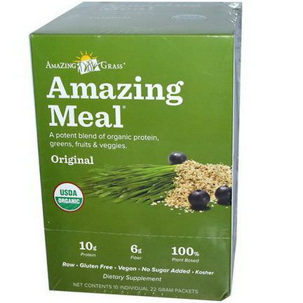 Amazing Grass, Amazing Meal, Original, 10 Individual Packets, 22g Each