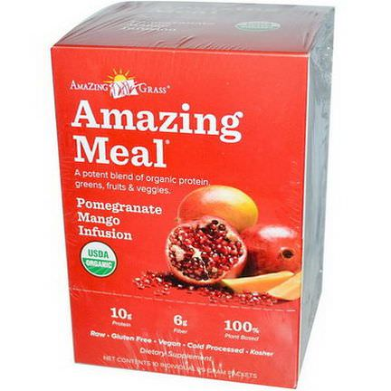 Amazing Grass, Amazing Meal, Pomegranate Mango Infusion, 10 Individual Packets, 29g Each