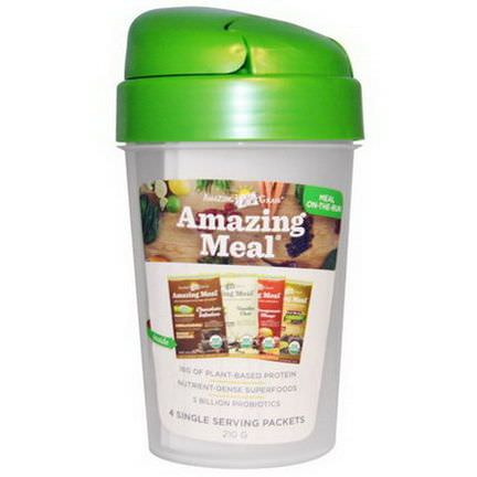 Amazing Grass, Amazing Meal Shaker Cup, and 4 Flavors of Amazing Meal, 1 - 20 oz Cup 28.2g Each