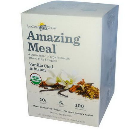 Amazing Grass, Amazing Meal, Vanilla Chai Infusion, 10 Individual Packets, 24g Each