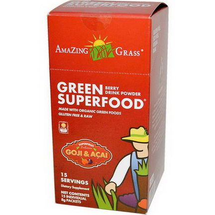 Amazing Grass, Green SuperFood, Berry Drink Powder, 15 Individual Packets, 8g Each