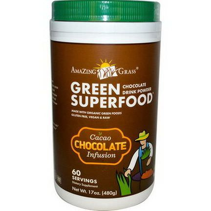 Amazing Grass, Green SuperFood, Chocolate Drink Powder, Cacao Infusion 480g