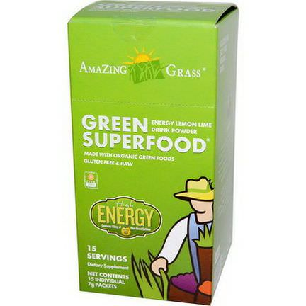 Amazing Grass, Green SuperFood, Energy Lemon Lime Drink Powder, 15 Individual Packets, 7g Each