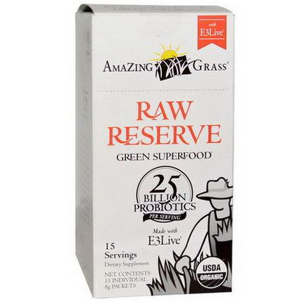 Amazing Grass, Green SuperFood, Raw Reserve with E3 Live, 15 Packets, 8g Each