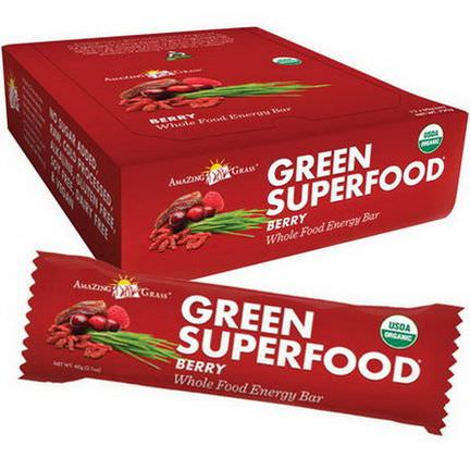 Amazing Grass, Green Superfood, Whole Food Energy Bar, Berry, 12 Bars 60g Each