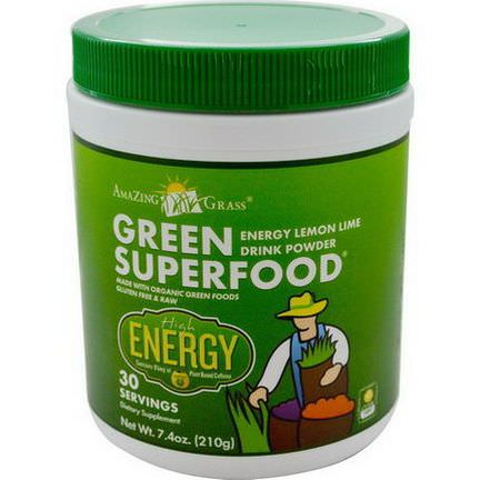 Amazing Grass, GreenSuperFood, Energy Lemon Lime Drink Powder 210g
