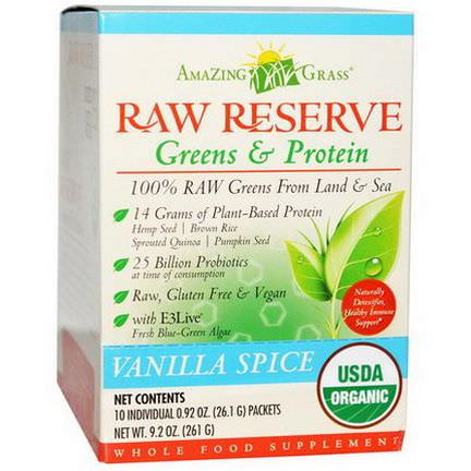 Amazing Grass, Organic, Raw Reserve, Greens&Protein, Vanilla Spice, 10 Packets 26.1g Each