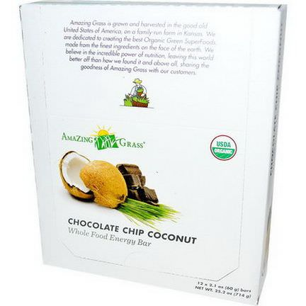 Amazing Grass, Whole Food Energy Bar, Chocolate Chip Coconut, 12 Bars 60g Each