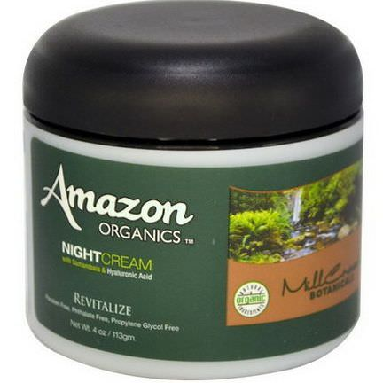 Amazon Organics, Night Cream, With Samambaia&Hyaluronic Acid, Revitalize 113g