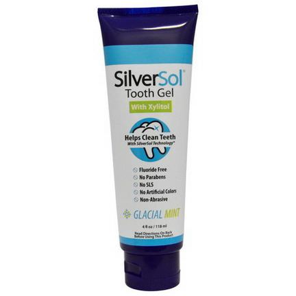 American Biotech Labs, SilverSol Tooth Gel, With Xylitol, Glacial Mint 118ml