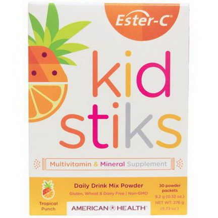 American Health, Ester-C Kidstiks, Daily Drink Mix Powder, Tropical Punch Flavor, 30 Powder Packets 0.32 oz Each