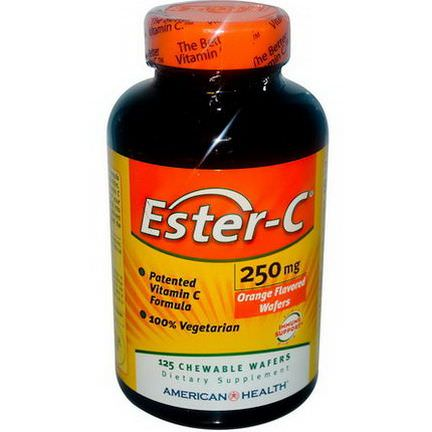 American Health, Ester-C, Orange Flavor, 250mg, 125 Chewable Wafers