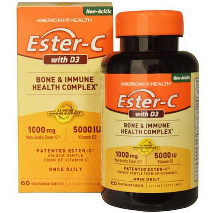 American Health, Ester-C with D3, Bone and Immune Health Complex, 1000mg/5000 IU, 60 Veggie Tabs