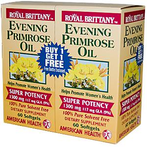 American Health, Royal Brittany, Evening Primrose Oil, 1300mg, 2 Bottles, 60 Softgels Each