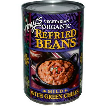 Amy's, Vegetarian Organic Refried Beans with Green Chiles, Mild 437g