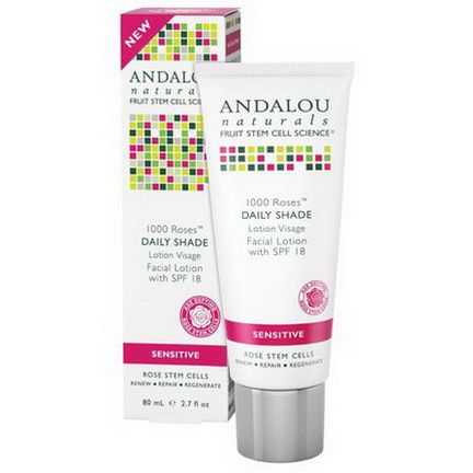 Andalou Naturals, 1000 Roses, Daily Shade, Facial Lotion with SPF 18, Sensitive 80ml
