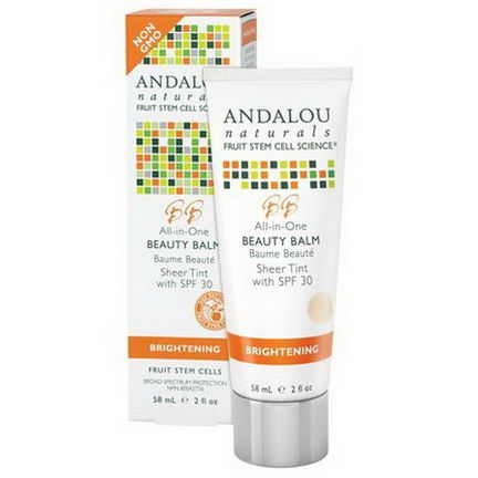 Andalou Naturals, Beauty Balm, Sheer Tint with SPF 30, Brightening 58ml