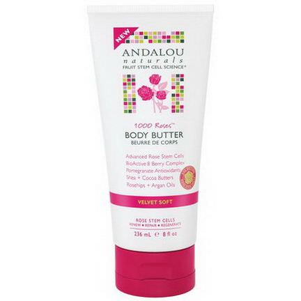 Andalou Naturals, Body Butter, 1000 Roses, Velvet Soft 236ml
