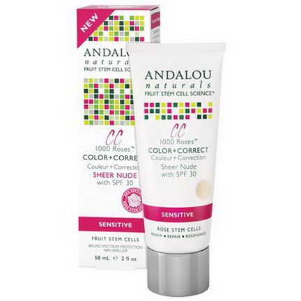 Andalou Naturals, CC 1000 Roses, Color Correct, Sheer Nude with SPF 30, Sensitive 58ml