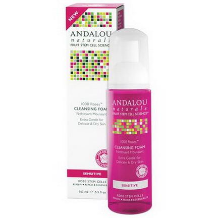 Andalou Naturals, 1000 Roses Cleansing Foam, Sensitive 163ml