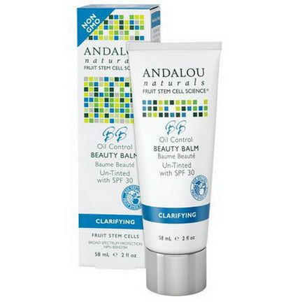 Andalou Naturals, Oil Control Beauty Balm Un-Tinted with SPF 30, Clarifying 58ml