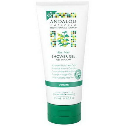 Andalou Naturals, Shower Gel, Aloe Mint, Cooling 251ml