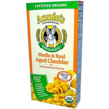 Annie's Homegrown, Certified Organic Shells&Real Aged Cheddar, Macaroni&Cheese 170g