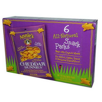 Annie's Homegrown, Cheddar Bunnies, All-Natural Baked Snack Crackers, 6 Packs 28g Each