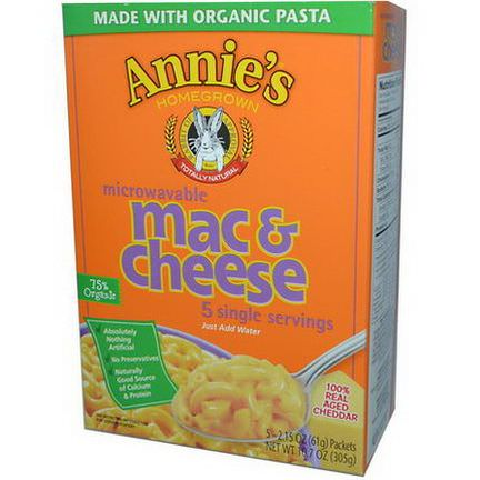 Annie's Homegrown, Microwavable Mac&Cheese, Real Cheddar, 5 Packets 61g Each