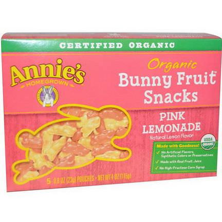 Annie's Homegrown, Organic Bunny Fruit Snack, Pink Lemonade, 5 Pouches 23g Each