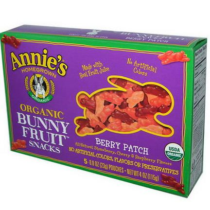 Annie's Homegrown, Organic Bunny Fruit Snacks, Berry Patch, 5 Pouches 23g Each