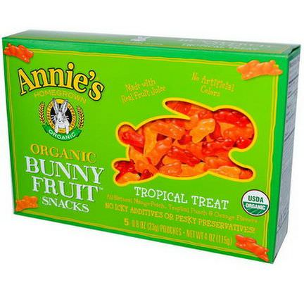 Annie's Homegrown, Organic Bunny Fruit Snacks, Tropical Treat, 5 Pouches 23g Each
