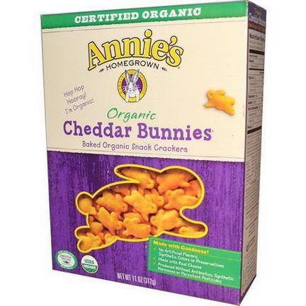 Annie's Homegrown, Organic, Cheddar Bunnies, Baked Snack Crackers 312g